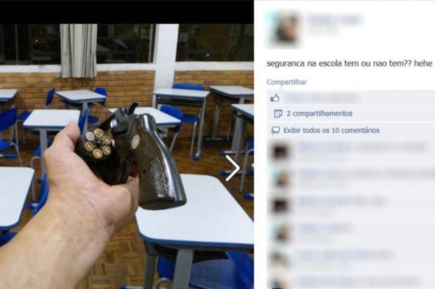 Aluno publica foto no Facebook com arma em sala de aula em Nova Prata Facebook/ Divulgação/