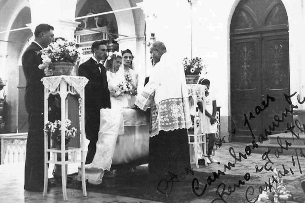 Casamento de Reno Mancuso em 1941 Acervo de Renan Carlos Mancuso/divulgação