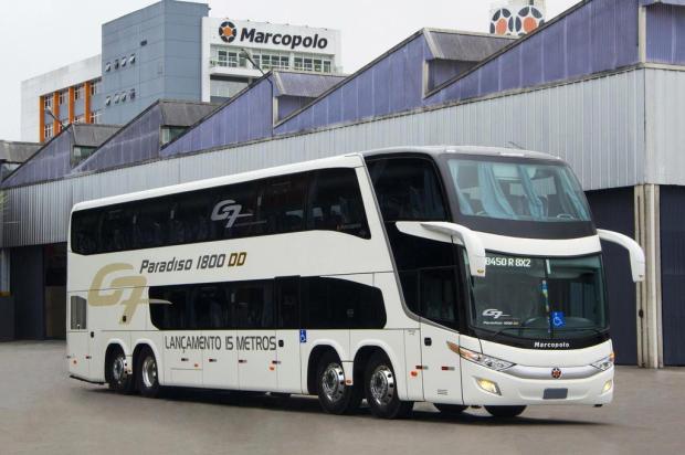 Primeiro ônibus rodoviário com 15 metros do país é apresentado pela caxiense Marcopolo Douglas de Souza Melo/divulgação