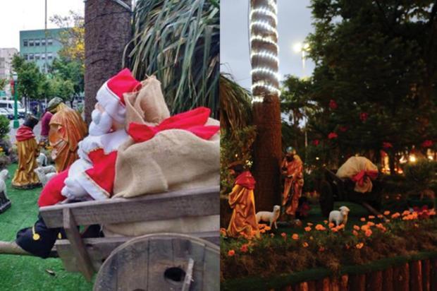 Boneco do Papai Noel foi furtado da Praça Dante, em Caxias do Sul Montagem sobre fotos de divulgação e Porthus Junior/divulgação