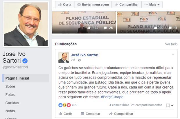 Governador José Ivo Sartori lamenta tragédia da Chapecoense Reprodução/