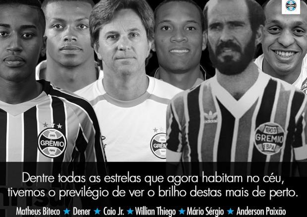 Grêmio homenageia ex-jogadores do clube vitimados em acidente da Chapecoense Reprodução / Twitter/Twitter