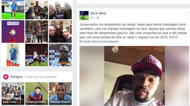 Destaque do Caxias no Gauchão, Wagner posta vídeo provocando jogadores do Juventude e inicia um Ca-Ju nas redes sociais Reprodução do Facebook/