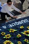 Em Flores da Cunha, a preparação da serragem iniciou ainda na terça-feira (13/06), na Praça da Bandeira. Foram utilizadas cerca de 70 toneladas de serragem, na confecção dos 38 tapetes coloridos.