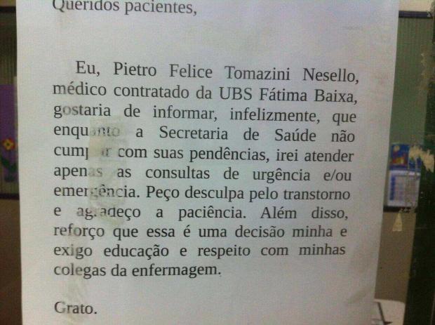 Médico que colou cartaz em UBS é demitido pela prefeitura de Caxias do Sul divulgação / divulgação/divulgação