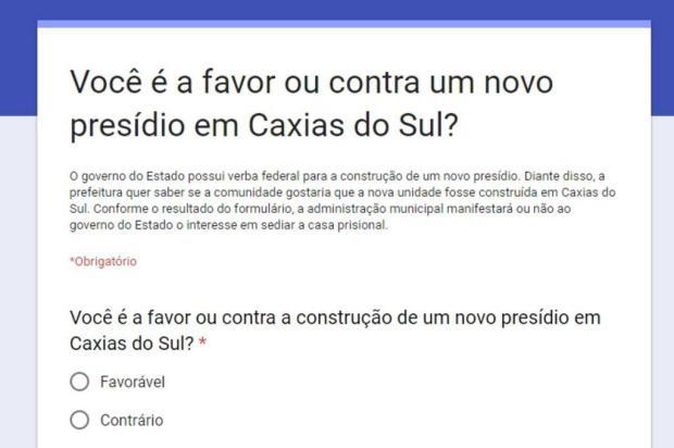 Prefeitura inicia Consulta Popular sobre construção de novo presídio em Caxias do Sul Reprodução/Reprodução