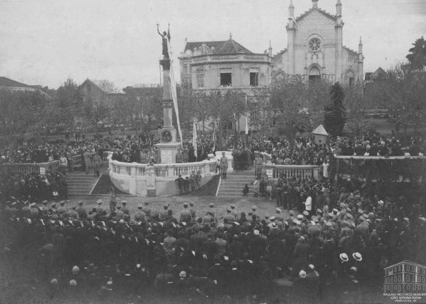 Memória: Estátua da Liberdade, um símbolo da Praça Dante desde 1922 Giacomo Geremia/Acervo Arquivo Histórico Municipal João Spadari Adami,divulgação