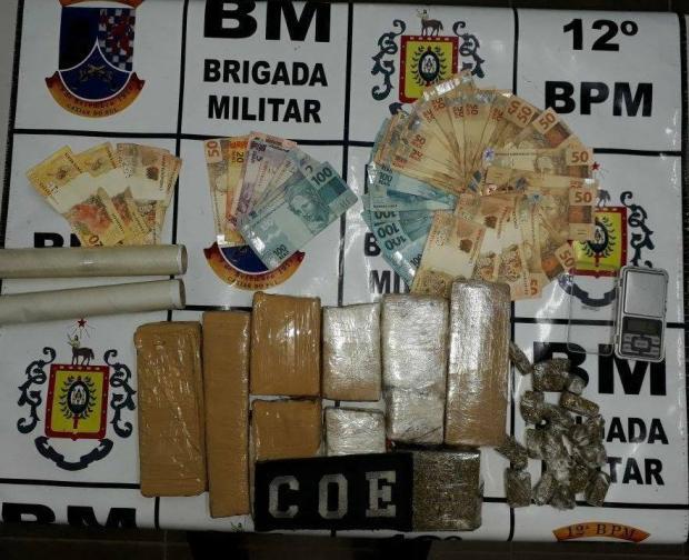 Grupo é preso com nove tijolos de maconha no bairro São José, em Caxias Brigada Militar / divulgação/divulgação