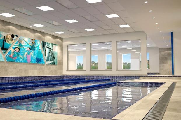 Raiar de Caxias projeta piscinas com vista para a Praça das Feiras Projeto Andrigo Demari/Reprodução