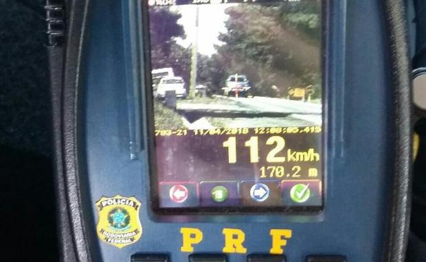 100 veículos são flagrados com excesso de velocidade na BR-470 PRF / divulgação/divulgação