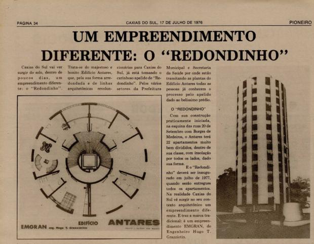 """Memória: Um prédio """"diferente"""" surge em 1976 Acervo Centro de Memória da Câmara de Vereadores de Caxias do Sul / reprodução/reprodução"""