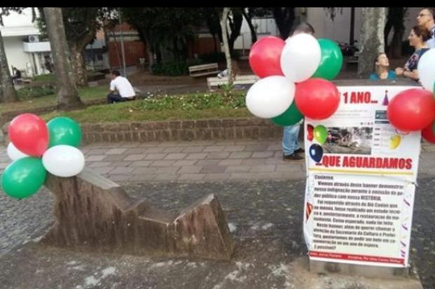 """Moradores """"comemoram"""" um ano sem reparo de monumento em Caxias do Sul Ivan De Stefani/Divulgação"""