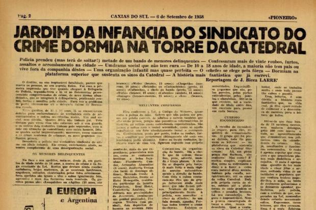 Há 60 anos, adolescentes criaram um dos primeiros grupos de furtos e roubos de Caxias do Sul Reprodução/Jornal Pioneiro