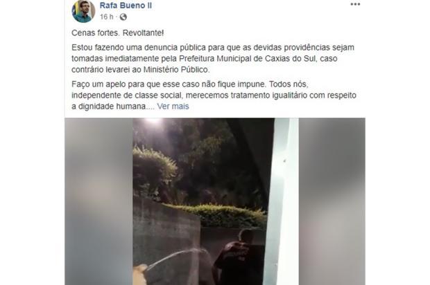 Prefeitura identifica homem que aparece sendo molhado por seguranças em Caxias  reprodução/