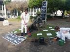 Dupla faz intervenção em protesto à limpeza feita pelo Executivo na cultura Siliane Vieira/Divulgação