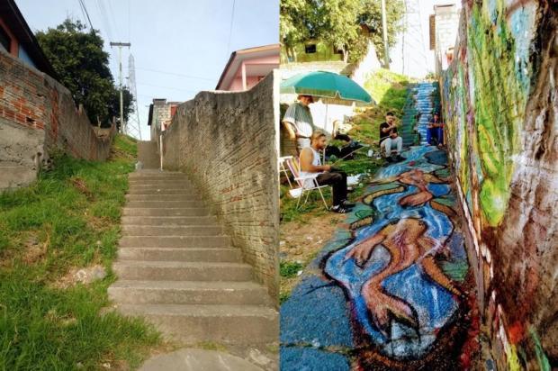 Grafite: veja o antes e depois de escadaria do bairro Belo Horizonte Andrigo Martins/Divulgação