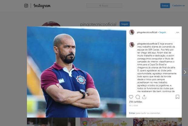Após demissão, Pingo se manifesta nas redes sociais e jogadores do Caxias comentam Reprodução / Instagram/Instagram