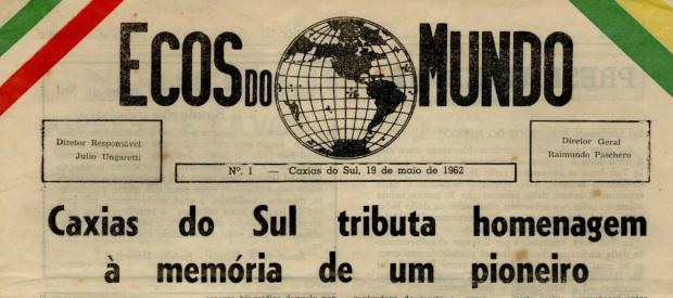 """Quinzenário """"Ecos do Mundo"""" em 1962 Centro de Memória da Câmara de Vereadores de Caxias do Sul / reprodução/reprodução"""