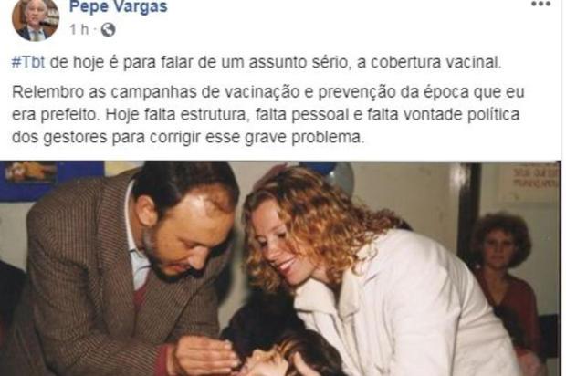 Postagem de Pepe Vargas relembra de quando era prefeito de Caxias do Sul Facebook/Reprodução