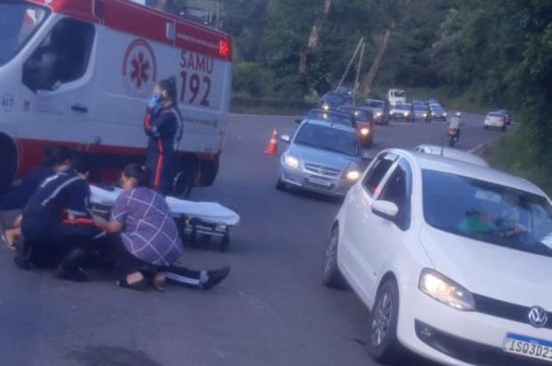 Motociclista fica ferido em acidente na BR-116, em Caxias PRF/Divulgação