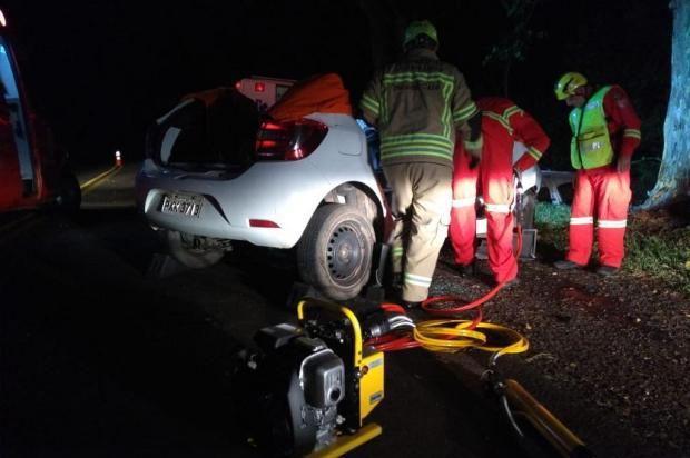 Motorista morre após Sandero colidir em árvore na BR-116, em Picada Café PRF/Divulgação
