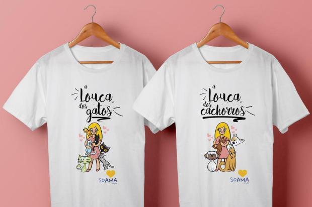 """Novas camisetas da Soama homenageiam """"louca dos gatos"""" e """"louca dos cachorros"""" Agência 42/Divulgação"""