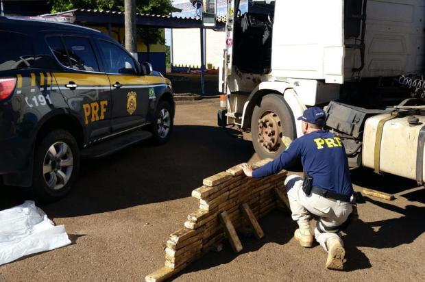 Motorista é preso com mais de 80 quilos de maconha escondida em fundo falso de carreta em Lagoa Vermelha PRF/Divulgação