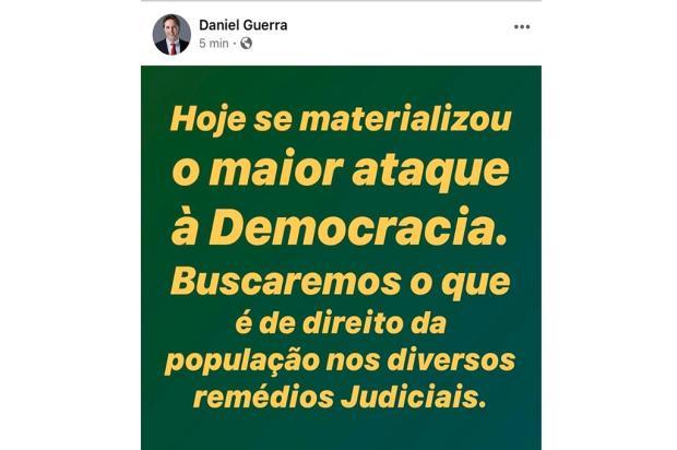 """Prefeito afastado de Caxias se manifesta sobre o impeachment: """"maior ataque à democracia"""" reprodução/"""