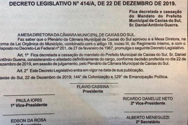 Com publicação de edital, cassação do mandato do prefeito de Caxias do Sul está decretada reprodução/