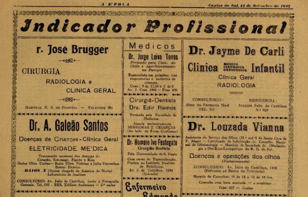 O indicador médico profissional de 1947 Jornal A Epoca / reprodução/reprodução