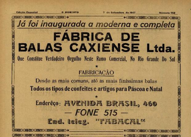 Fábrica de Balas Caxiense em 1947 Agência RBS / reprodução/reprodução