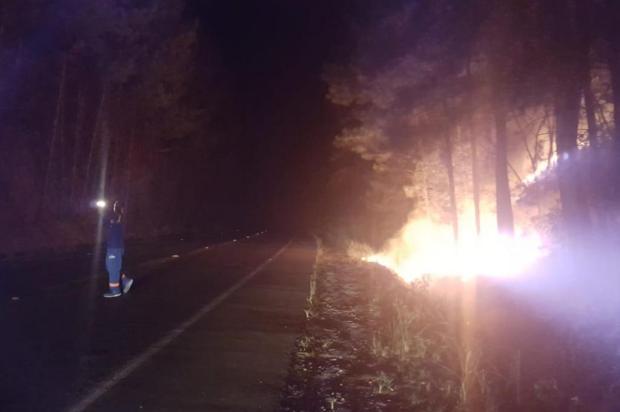 Incêndio atinge vegetação no entorno da represa do Faxinal, em Caxias Samae/Divulgação