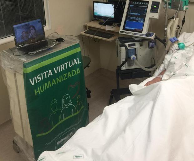 Hospital de Caxias disponibiliza visita virtual a pacientes com covid-19 Unimed / Divulgação/Divulgação