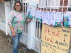 Professora de Vacaria estende, em varal de casa, lições para seus alunos Vera Lúcia Lisboa Borges/Arquivo Pessoal