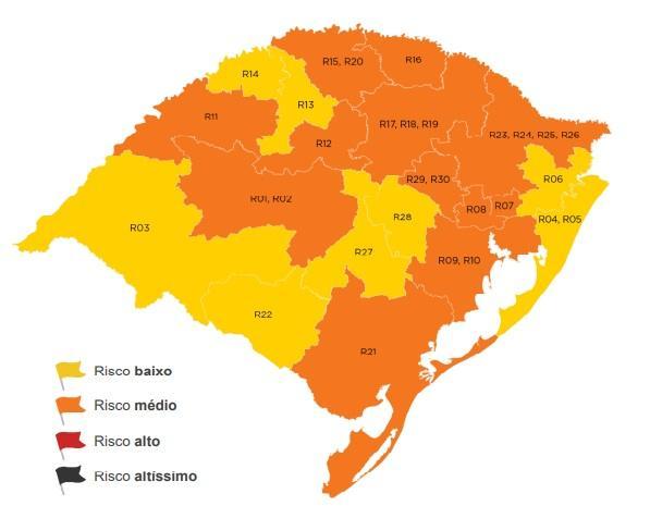 Maioria das cidades da Serra permanece com risco médio no mapa do distancimento controlado Divulgação / Governo RS/Governo RS