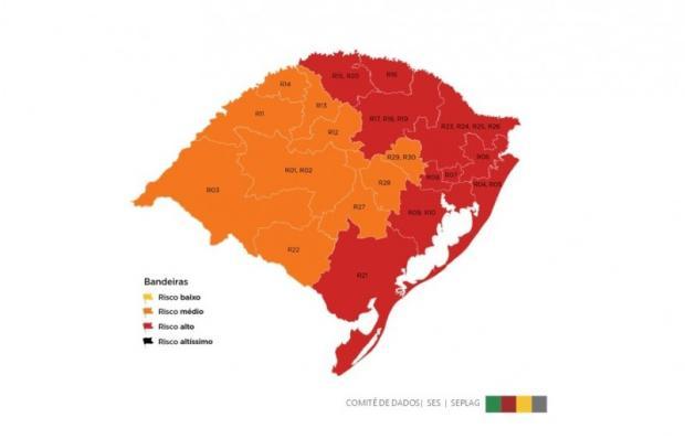 Caxias do Sul volta ser classificada com a bandeira vermelha Governo do RS / Divulgação/Divulgação
