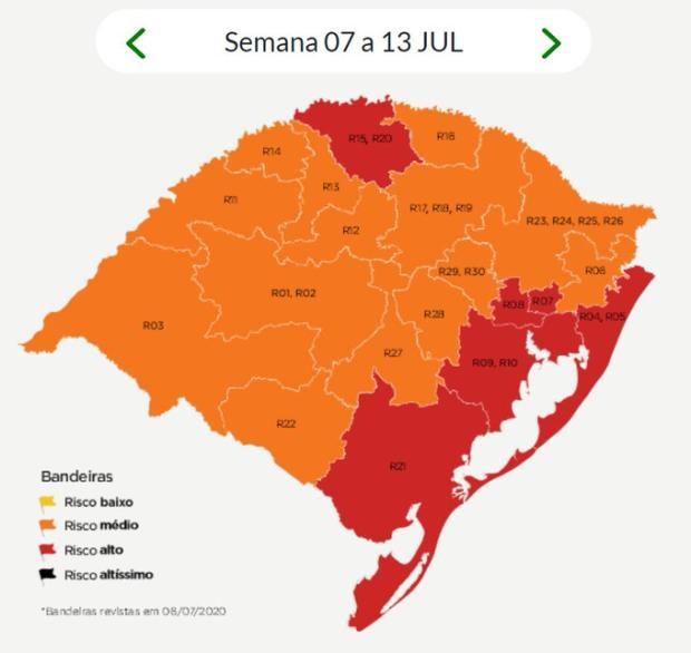 Após atualização do governo do RS, Caxias do Sul seguirá na bandeira laranja Governo do Rio Grande do Sul / Reprodução/Reprodução
