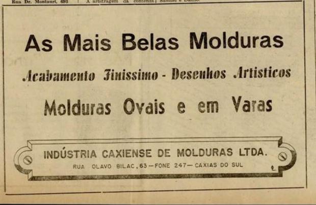 Anúncios da Indústria Caxiense de Molduras nos anos 1950 Jornal Pioneiro/Reprodução/Reprodução