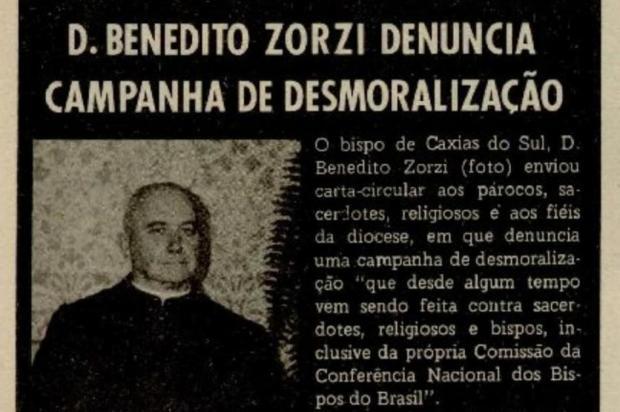 Dom Benedito Zorzi e um alerta em 1975 Jornal de Caxias/reprodução